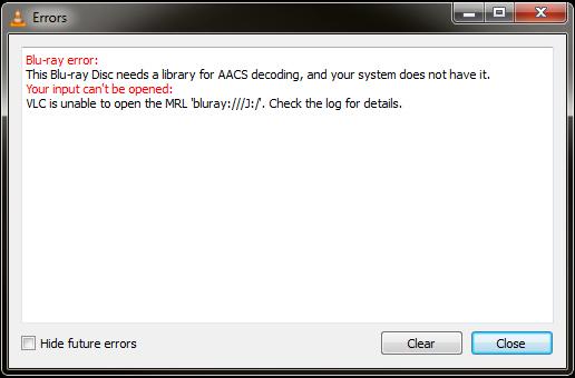 VLC MRL Blu-ray error